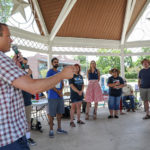 Steven Kling (candidate for State Senator, District 25) speaks at the Kyle/Buda-Area Democrats Ice Cream Social on Aug. 5 at the Kyle City Square Park gazebo.  Photo by Christopher Paul Cardoza