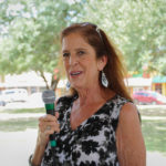 Beth Smith (Justice of the Peace, Precinct 2) speaks at the Kyle/Buda-Area Democrats Ice Cream Social on Aug. 5 at the Kyle City Square Park gazebo.