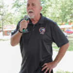 Scott Cary (Justice of the Peace, Precinct 5) speaks at the Kyle/Buda-Area Democrats Ice Cream Social on Aug. 5 at the Kyle City Square Park gazebo.  Photo by Christopher Paul Cardoza