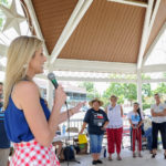 Chari Kelly (candidate for Justice, 3rd Court of Appeals, Place 3) speaks at the Kyle/Buda-Area Democrats Ice Cream Social on Aug. 5 at the Kyle City Square Park gazebo.  Photo by Christopher Paul Cardoza