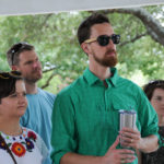 Attendees listen while candidates speak at the Kyle/Buda-Area Democrats Ice Cream Social on Aug. 5 at the Kyle City Square Park gazebo.  Photo by Christopher Paul Cardoza
