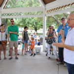 Steven Kirkland (Justice, Supreme Court, Place 2) speaks at the Kyle/Buda-Area Democrats Ice Cream Social on Aug. 5 at the Kyle City Square Park gazebo.  Photo by Christopher Paul Cardoza