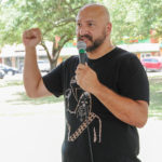 Omar Baca (candidate for Hays County Commissioner, Precinct 4) speaks at the Kyle/Buda-Area Democrats Ice Cream Social on Aug. 5 at the Kyle City Square Park gazebo.  Photo by Christopher Paul Cardoza