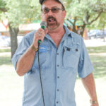Richard Cronshey (candidate for Hays County Commissioner, Precinct 2) speaks at the Kyle/Buda-Area Democrats Ice Cream Social on Aug. 5 at the Kyle City Square Park gazebo.  Photo by Christopher Paul Cardoza