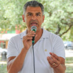 Ruben Becerra (candidate for Hays County Judge) speaks at the Kyle/Buda-Area Democrats Ice Cream Social on Aug. 5 at the Kyle City Square Park gazebo.  Photo by Christopher Paul Cardoza
