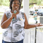 Joi Chevalier (candidate for State Comptroller) speaks at the Kyle/Buda-Area Democrats Ice Cream Social on Aug. 5 at the Kyle City Square Park gazebo.  Photo by Christopher Paul Cardoza