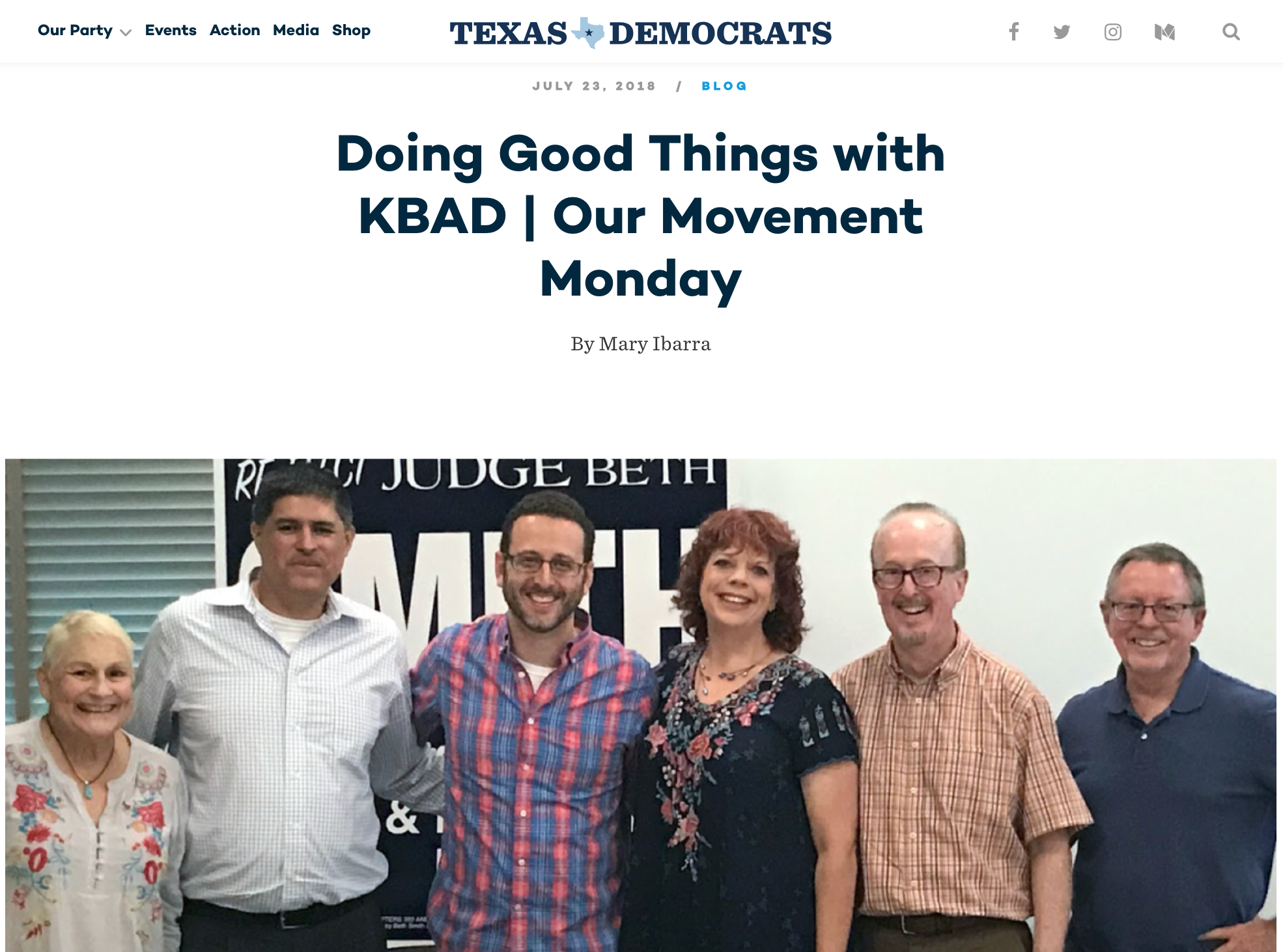 Screen capture of Texas Democrats Press Article