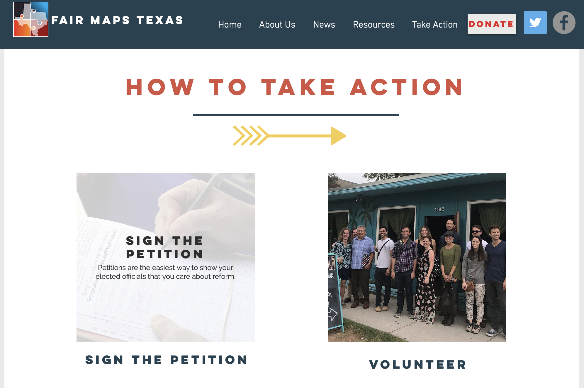 Take Action Page for Fair Maps Texas