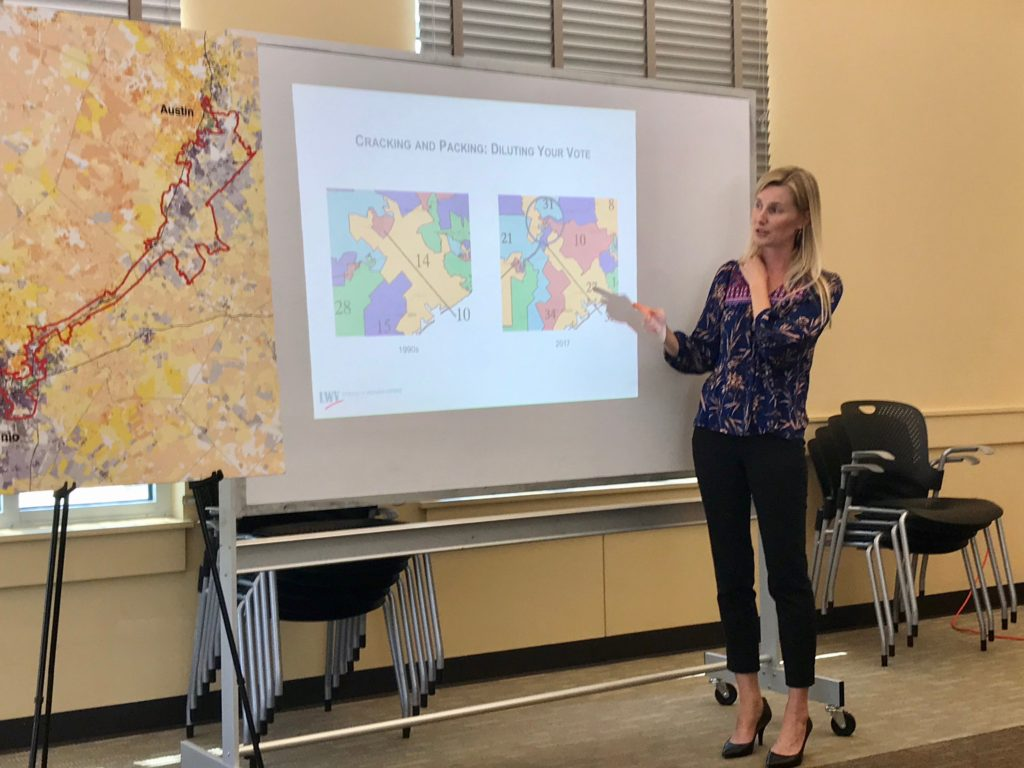 Photo of redistricting training presentation