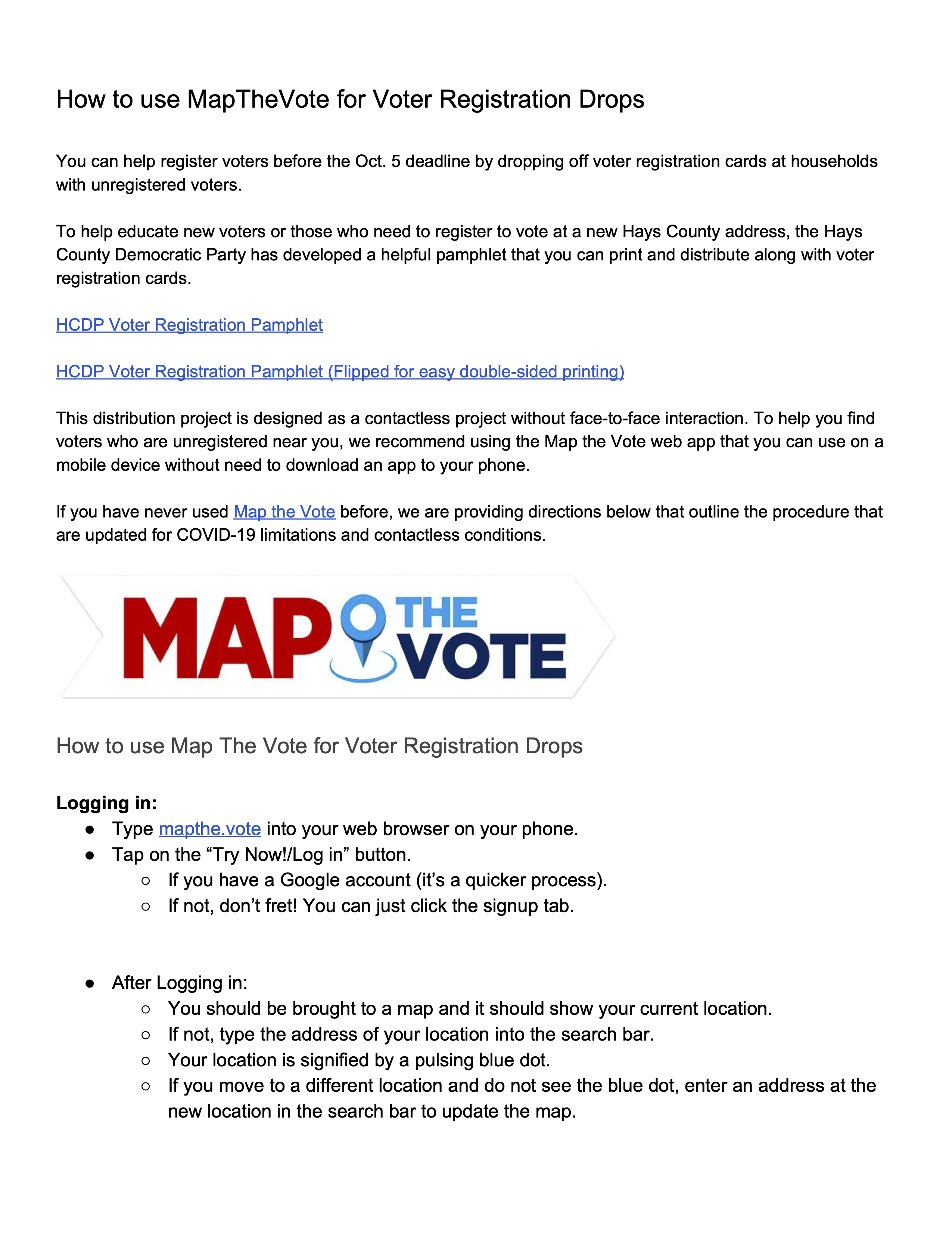 Map the Vote instructions COVID